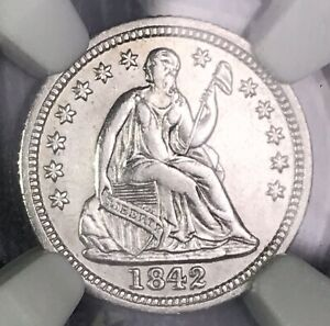 1842 O SEATED SILVER HALF DIME NGC AU DETAILS  KEY DATE COLLECTOR COIN