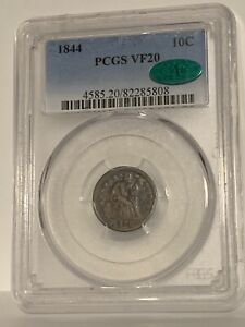 1844 BETTER DATE LIBERTY SEATED DIME PCGS VF20 CAC BEAUTIFUL
