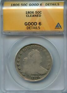 1806 50C ANACS G 6 DETAILS  GOOD G6  DRAPED BUST SILVER HALF DOLLAR