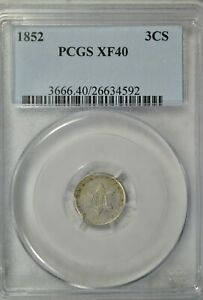 1852 3 CENT SILVER TYPE 1 PCGS XF40