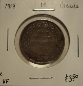 C CANADA GEORGE V 1914 LARGE CENT   VF