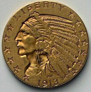 1913 GOLD INDIAN $5 HALF EAGLE COIN   GOLD