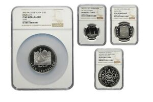 Click now to see the BUY IT NOW Price! YEMEN SET OF 2.5 5 10 AND 15 RIALS FROM YEAR 1975. NGC PF69 ULTRA CAMEO