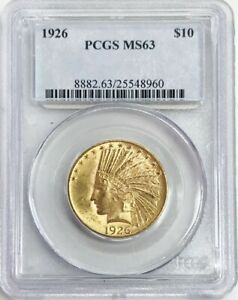 1926 GOLD UNITED STATES $10 DOLLAR INDIAN HEAD COIN PCGS MINT STATE 63