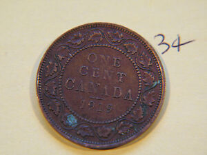 1919 CANADA CANADIAN LARGE CENT COIN  CANADIAN ONE CENT