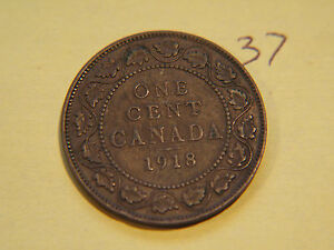 1918 CANADA CANADIAN LARGE CENT COIN  CANADIAN ONE CENT