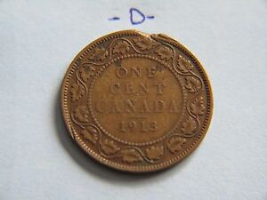 1913 CANADA CANADIAN LARGE CENT COIN  CANADIAN ONE CENT