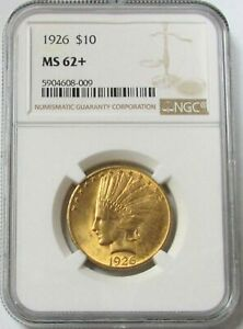 1926 GOLD US $10 INDIAN HEAD EAGLE COIN NGC MINT STATE 62  MS 62