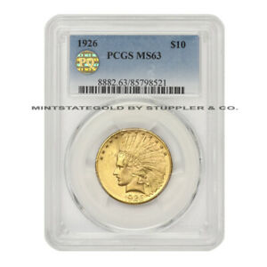 1926 $10 GOLD INDIAN PCGS MS63 PQ APPROVED CHOICE GRADED PHILADELPHIA COIN