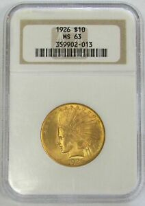1926 GOLD UNITED STATES $10 INDIAN HEAD EAGLE COIN NGC MINT STATE 63