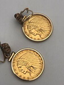 22K 14K GOLD 2 1/2 US DOLLAR 1908 1909 LIBERTY INDIAN HEAD COIN DANGLE EARRINGS