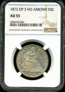 Click now to see the BUY IT NOW Price! 1873 50C OPEN 3 NO ARROWS LIBERTY SEATED HALF DOLLAR AU55 NGC 5904745 001
