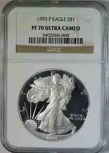 1993 P PROOF AMERICAN SILVER EAGLE ASE NGC GRADED PF70 ULTRA CAMEO