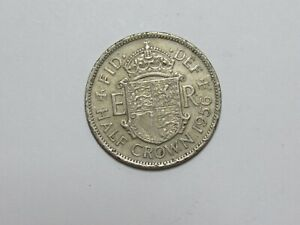 OLD GREAT BRITAIN COIN   1956 HALF CROWN   CIRCULATED SCRATCHES RIM DAMAGE