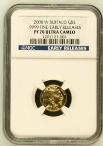 2008 W $5 AMERICAN GOLD BUFFALO 1/10 OZ NGC PF 70 ULTRA CAMEO EARLY RELEASE