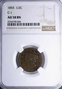 1855 BRAIDED HAIR HALF CENT NGC AU58BN C 1 LOVELY COIN MINT RED STILL PRESENT