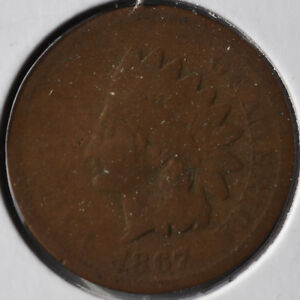 1867 1C INDIAN HEAD CENT EARLY DATE ALMOST CIRCULATED