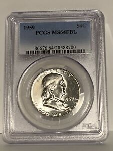 1959 FRANKLIN SILVER HALF DOLLAR PREMIUM QUALITY PCGS MS 64 FBL FULL BELL LINES