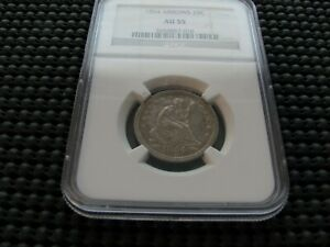 1854 NGC AU 55 SEATED QUARTER