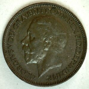 1936 GREAT BRITAIN BRONZE FARTHING COIN ALMOST UNCIRCULATED BRITISH GEORGE V