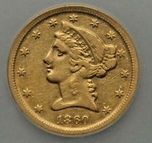 1860 D $5 US GOLD COIN   DAHLONEGA MINT  PCGS GOLD SHIELD XF DETAILS 28492504