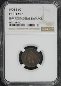 1908 S INDIAN HEAD CENT NGC VF DETAILS ENVIRONMENTAL DAMAGE