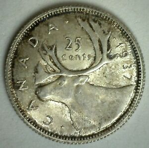 1937 SILVER CANADA 25 CENTS COIN