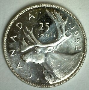 1952 SILVER CANADA 25 CENTS BU COIN CANADIAN UNCIRCULATED QUARTER DOLLAR