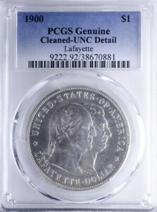 1900 COMMEMORATIVE DOLLAR PCGS UNCDETAIL LAFAYETTE CLEANED