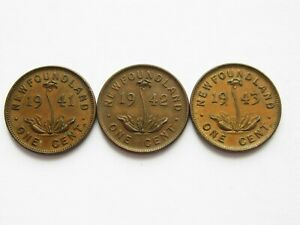 1941 1942 AND 1943 NEWFOUNDLAND ONE CENT   NICE