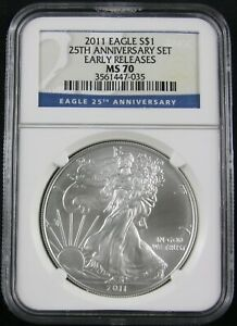2011 AMERICAN SILVER EAGLE 25TH ANNIVERSARY SET NGC MS 70 EARLY RELEASES