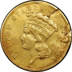 1855 $3 THREE DOLLAR GOLD HOLED/PLUGGED  OLD TYPE COIN MONEY