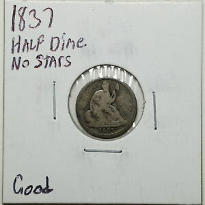 1837 H10C NO STARS SEATED LIBERTY HALF DIME IN GOOD CONDITION 00768