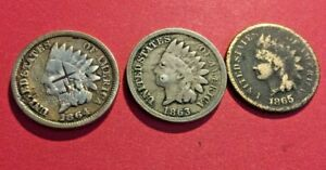 1863  1864  1865 INDIAN HEAD CENTS      NICE DETAILS LOT