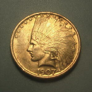 1907 GOLD $10 INDIAN HEAD EAGLE COIN NO MOTTO    276