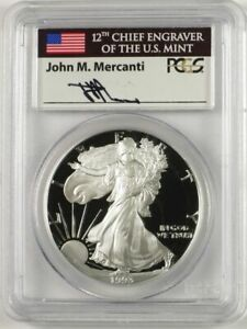 Click now to see the BUY IT NOW Price! 1993 P $1 PROOF SILVER EAGLE PCGS PR70 DCAM JOHN MERCANTI SIGNED