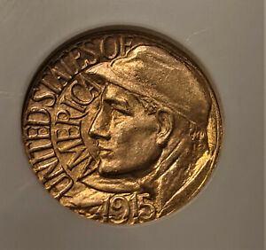 1915 S GOLD PANAMA PACIFIC  $1 DOLLAR NGC MINT STATE MS 64   STRONG