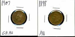 LOT OF 2 COINS 1898 & 1907 1C INDIAN HEAD CENT 01032