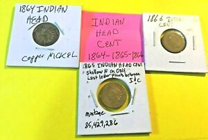 1864 1865 AND 1866 INDIAN HEAD CENTS 156  YEARS OLD  3 COIN SET