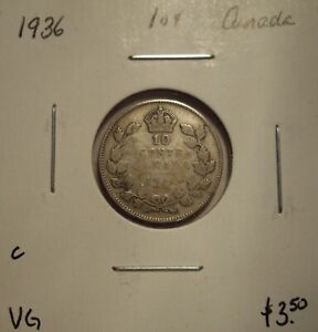C CANADA GEORGE V 1936 SILVER TEN CENTS   VG