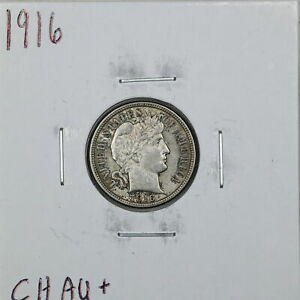 1916 10C BARBER LIBERTY HEAD DIME IN CHOICE AU  CONDITION 01111