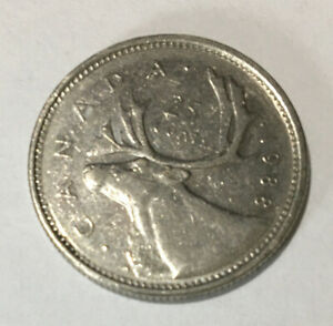 1988  CANADIAN SILVER  QUARTER 25 CENT PIECE