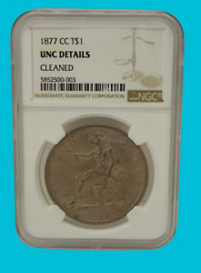 1877 CC SEATED LADY TRADE DOLLAR CARSON CITY NGC UNC UNCIRCULATED C2