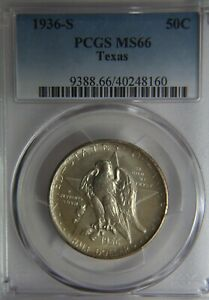 1936 S TEXAS COMMEMORATIVE SILVER HALF DOLLAR PCGS MS66