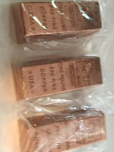1 POUND COPPER CU RECTANGLE BARS 3 PACK SOLID COPPER BY REEDERSONG