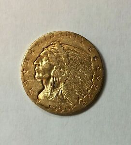 1909 D INDIAN HEAD HALF EAGLE GOLD COIN XF $5 5.00