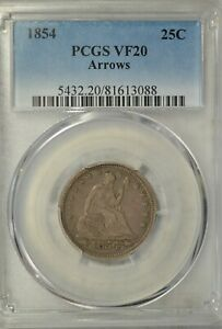 1854 SEATED QUARTER ARROWS PCGS VF20