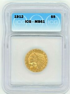 1912 $5 INDIAN GOLD ICG MS61