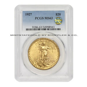 1927 $20 GOLD SAINT GAUDENS PCGS MS63 PQ APPROVED CHOICE DOUBLE EAGLE COIN