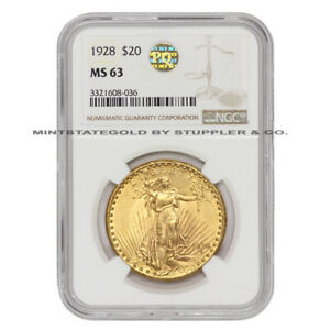 1928 $20 SAINT GAUDENS NGC MS63 PQ APPROVED GOLD DOUBLE EAGLE CHOICE COIN
